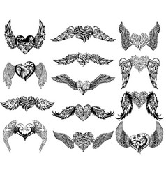 hearts with wings tattoo set vector image