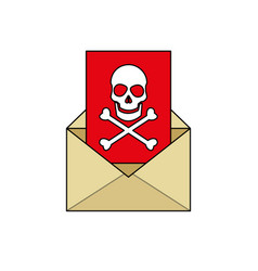 mail with virus icon image vector image