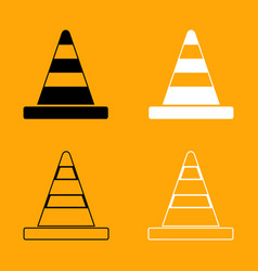 road cone black and white set icon vector image vector image