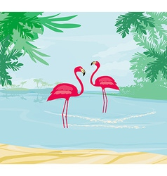 with green palms and pink flamingo vector image