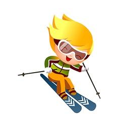 Boy skiing vector