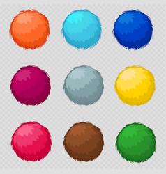 colorful fluffy pompom fur balls vector image