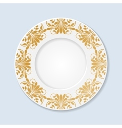 Decorative plate with floral ornament vector image vector image
