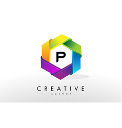 p letter logo corporate hexagon design vector image vector image