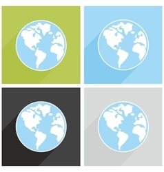 Planet Earth sign with long shadow vector image vector image