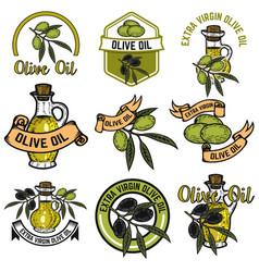 Set of olive oil labels design elements for logo vector