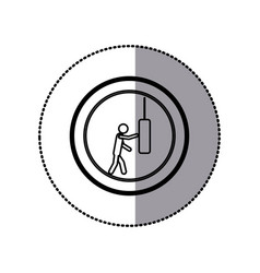 sticker of monochrome pictogram with man knocking vector image
