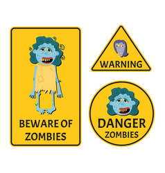 beware of zombies stickers set vector image