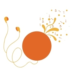 Cd player with headphones with swirls and musical vector