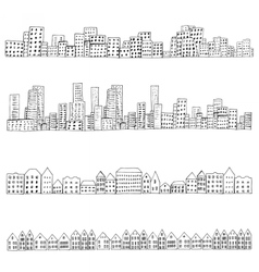 city doodle line vector image