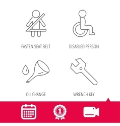 Wrench key oil change and fasten seat belt vector