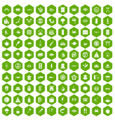 100 sushi bar icons hexagon green vector