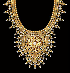 a female beaded necklace with pearls and gold vector image