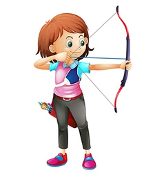A young girl playing archery vector