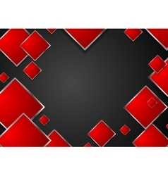 Abstract red geometric squares with metallic frame vector
