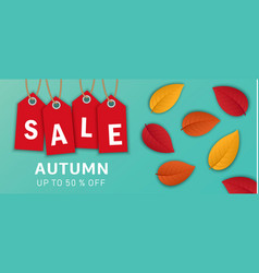 autumn sale banner concept background realistic vector image
