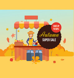Autumn super sale girl farmer at counter sells vector