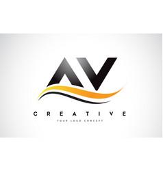 av a v swoosh letter logo design with modern vector image