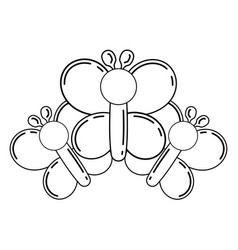 balloons shaped three butterfly decoration vector image