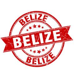Belize red round grunge vintage ribbon stamp vector