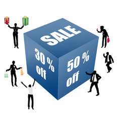 big sale box with peoples vector image