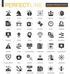 black classic human productivity web icons set vector image