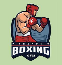 boxing gym mascot and logo vector image