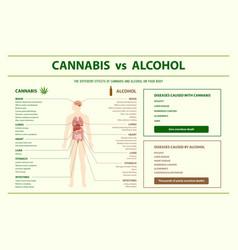 Cannabis vs alcohol horizontal infographic vector