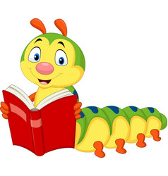 Cartoon caterpillar reading book vector