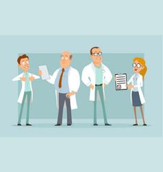 Cartoon flat hospital doctor characters set vector