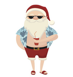 cartoon santa at resort santa vector image