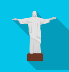Christ the redeemer icon in flate style isolated vector