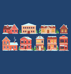 christmas houses buildings with snow caps vector image