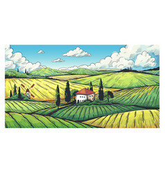 Countryside landscape organic farm field sketch vector