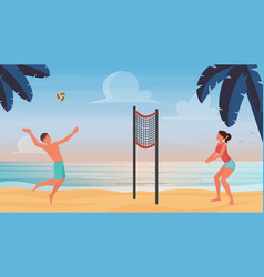 couple active people play beach volleyball throw vector image