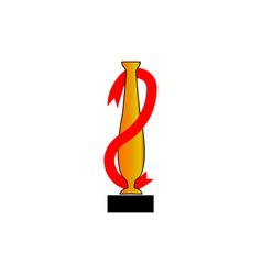cup award and ribbon vector image