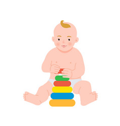 cute baby playing with colorful rainbow toy vector image
