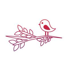 cute bird in branch tree lovely animal vector image