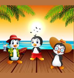 cute cartoon penguins in summer holiday vector image