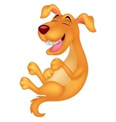 Cute dog cartoon laughing vector image