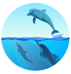 Dolphin jumping out water in deep blue sea vector