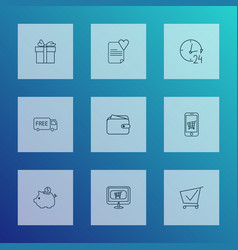 E-commerce icons line style set with buy online vector