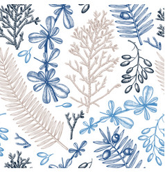 Evergreen trees seamless pattern vintage vector