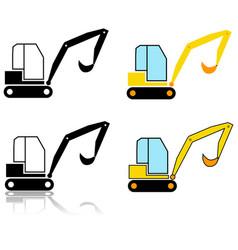 Excavator icon set vector