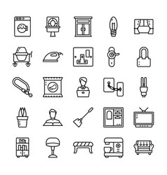 Family and home line icons pack vector