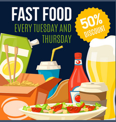 fast food pizza soda and coffe discount offer vector image