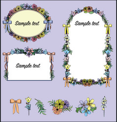 floral decorative frames wedding valentines card vector image