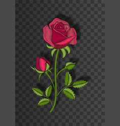 floral stitched ornament with stitch rose vector image