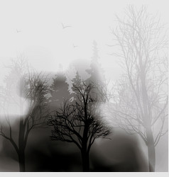 fog in the forest black tree ink blots splashes vector image