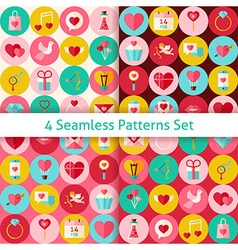 Four Flat Happy Valentine Day Seamless Patterns vector image